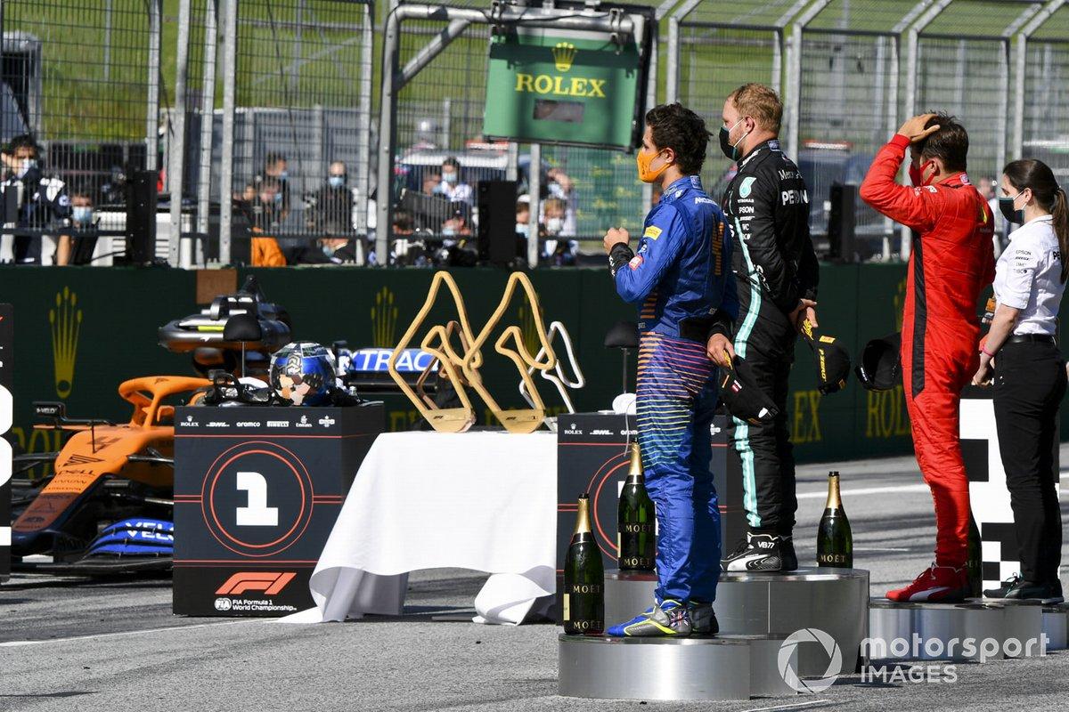 Lando Norris, McLaren, Valtteri Bottas, Mercedes-AMG Petronas F1 e Charles Leclerc, Ferrari sul podio