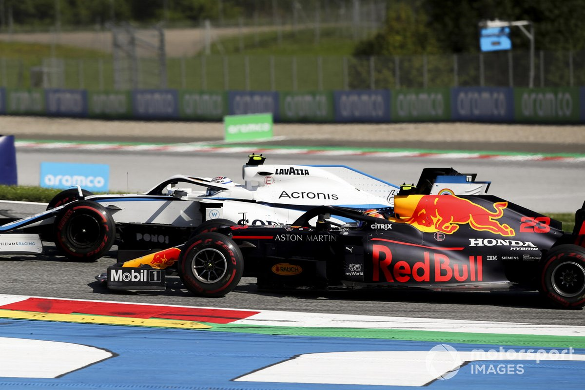 Nicholas Latifi, Williams FW43, lotta con Alex Albon, Red Bull Racing RB16