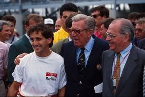 Alain Prost, McLaren with Jean-Marie Balestre, FISA President and Pierre Bérégovoy, French Politician