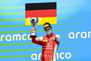 Mick Schumacher, Prema Racing celebrates on the podium with the trophy