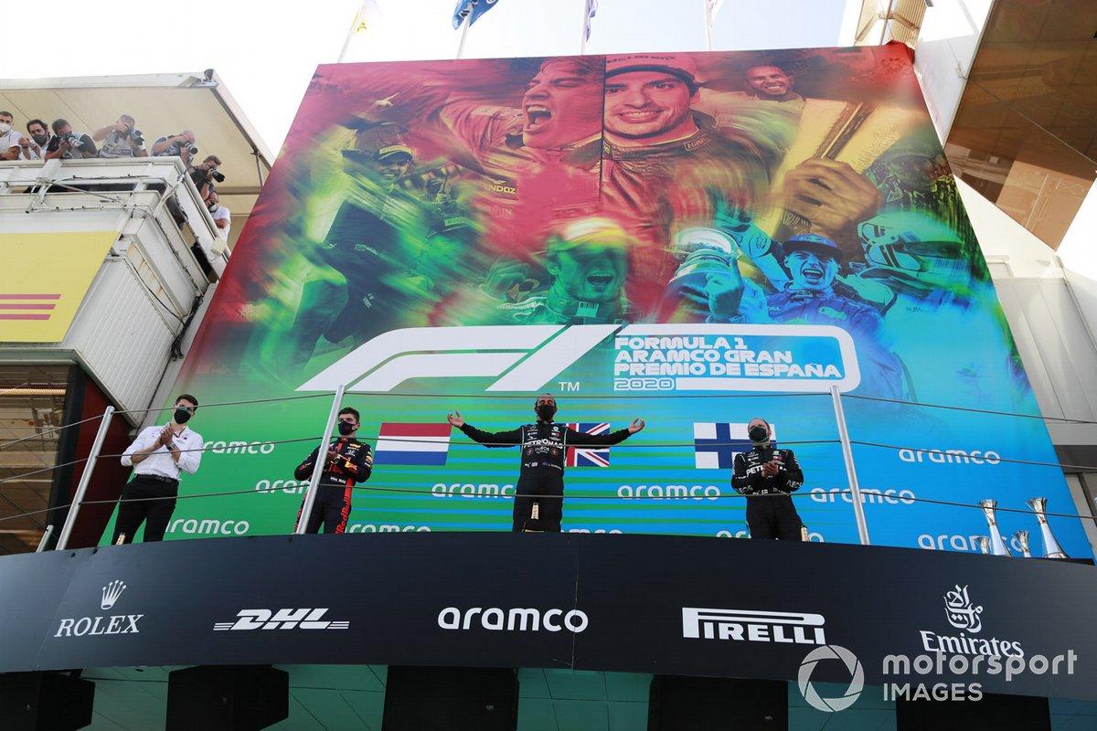 Espagne - Podium : Lewis Hamilton, Max Verstappen, Valtteri Bottas