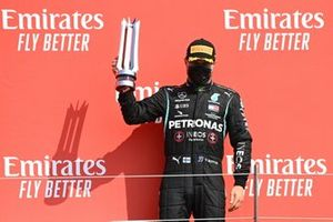 Valtteri Bottas, Mercedes AMG F1, celebrates on the podium