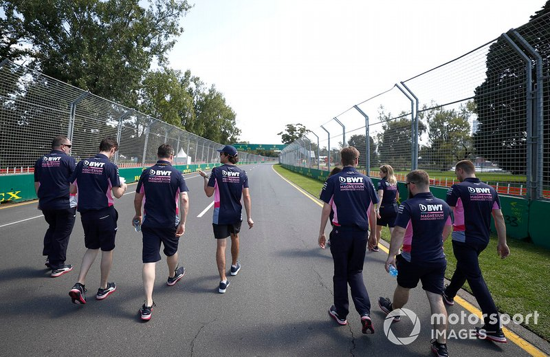 Lance Stroll, Racing Point on his track walk with members of the team