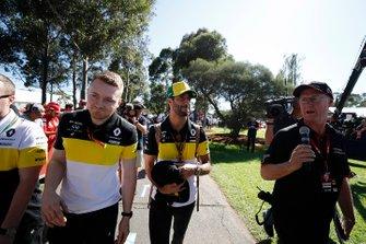 Daniel Ricciardo, Renault F1 Team, arrives at the track