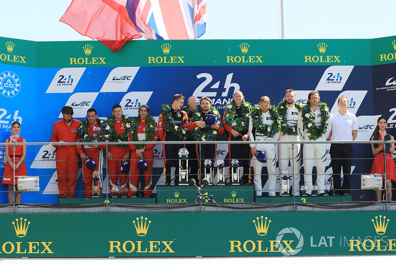 GTE AM podium: first place Robert Smith, Will Stevens, Dries Vanthoor, JMW Motorsport, second place