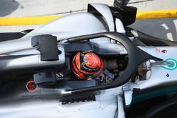 George Russell, Mercedes-Benz F1 W08 with halo