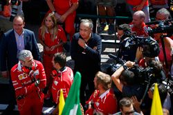 Maurizio Arrivabene, Team Principal, Ferrari, Sergio Marchionne, Chief Executive Officer, Fiat Chrysler and Chairman, Ferrari, are filmed after victory by Sebastian Vettel, Ferrari
