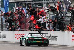 Checkered flag for #29 Audi Sport Team Land-Motorsport, Audi R8 LMS: Christopher Mies, Connor De Phillippi, Markus Winkelhock, Kelvin van der Linde