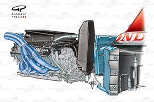 BAR 005 2003 engine installation detailed view