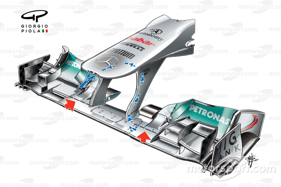 Mercedes W02 front wing and nose, captioned