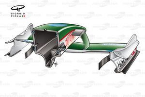 Jaguar R4 2003 front wing and nose rear view