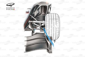 McLaren MP4-19 front wing endplate (not inwash toward brake duct, arrowed)