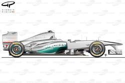 Mercedes W02 side view, launch car