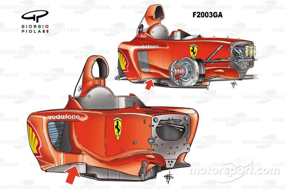 Confronto tra il telaio della Ferrari F2004 (655) 2004 e quello della F2003GA