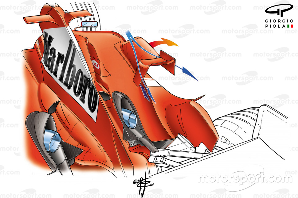 Ferrari F2004 (655) 2004, passaggio dell'aria attraverso la ciminiera sulla fiancata laterale