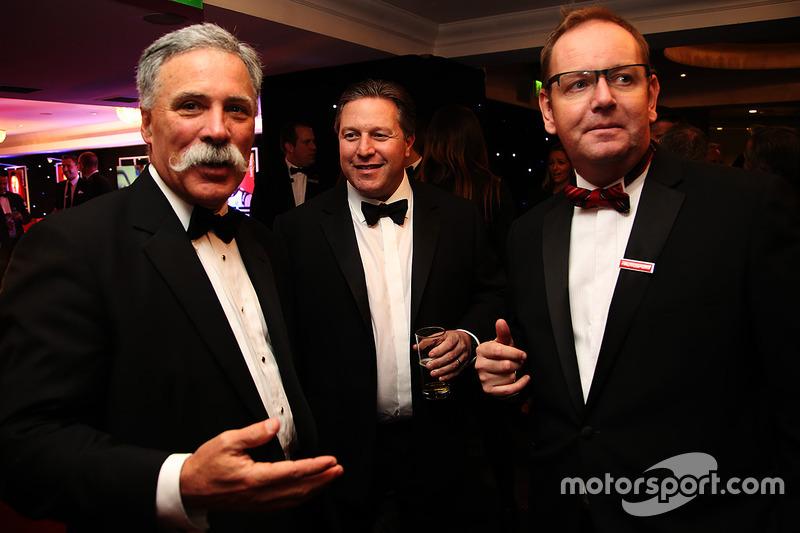 Director del Formula One Group, Chase Carey y McLaren CEO, Zak Brown