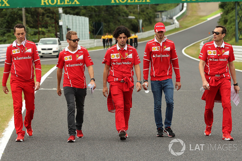 Sebastian Vettel, Ferrari and Antonio Giovinazzi, Ferrari Test and Reserve Driver walk the track