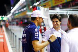 Esteban Ocon, Force India, in conversation, Lance Stroll, Williams