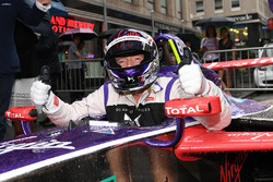 Richard Branson poses for a photo from the cockpit of a DS Virgin Racing Spark