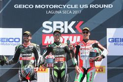 Podium: winner Jonathan Rea, Kawasaki Racing, second place Tom Sykes, Kawasaki Racing, third place C