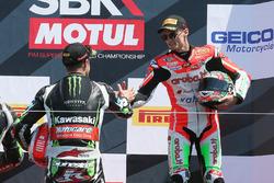 Podium: winner Jonathan Rea, Kawasaki Racing, third place Chaz Davies, Ducati Team