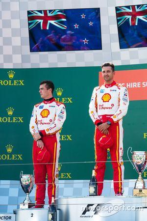 Podium: winner Scott McLaughlin, Team Penske Ford, second place Fabian Coulthard, Team Penske Ford