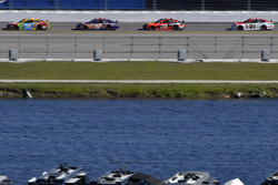 Ricky Stenhouse Jr., Roush Fenway Racing Ford, Denny Hamlin, Joe Gibbs Racing Toyota, Martin Truex Jr., Furniture Row Racing Toyota and Ryan Blaney, Wood Brothers Racing Ford