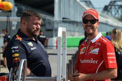Sebastian Vettel, Ferrari and Red Bull Racing mechanic