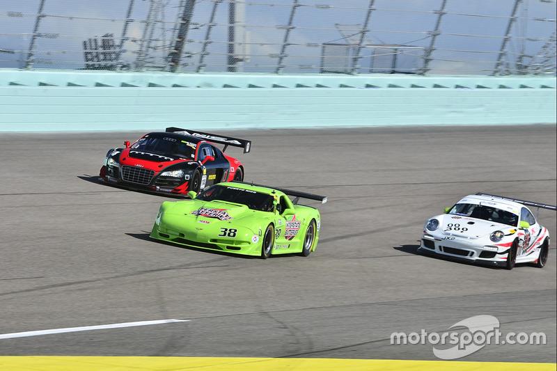 #300 MP2A Porsche GT3 Cup driven by Roman de Angelis & Marco Cirone of De Angelis/6th Gear, #114 MP1A Audi R8 driven by Eric Johnson & Ernie Francis Jr. of ANSA Motorsports, #38 MP1A Chevrolet Corvette driven by Juan Vento of JV Racing