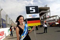 Grid girl of #5 Belgian Audi Club WRT Audi R8 LMS: Mohammed Bin Saud Al Saud, Mohammed Bin Faisal Al