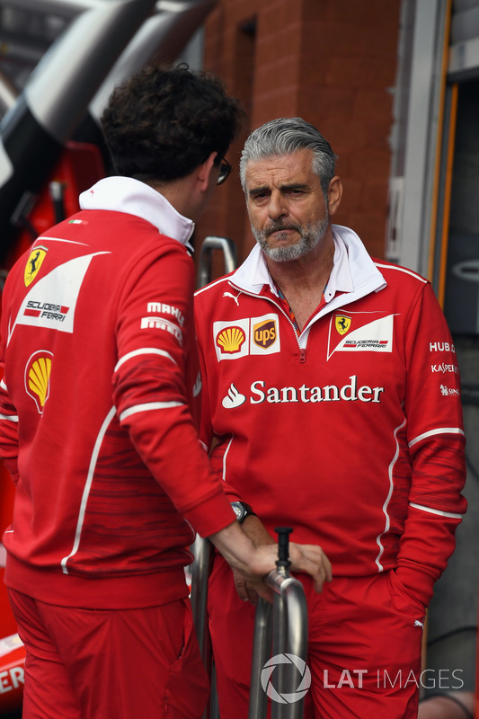 Maurizio Arrivabene, Ferrari Team Principal and Mattia Binotto, Ferrari Chief Technical Officer