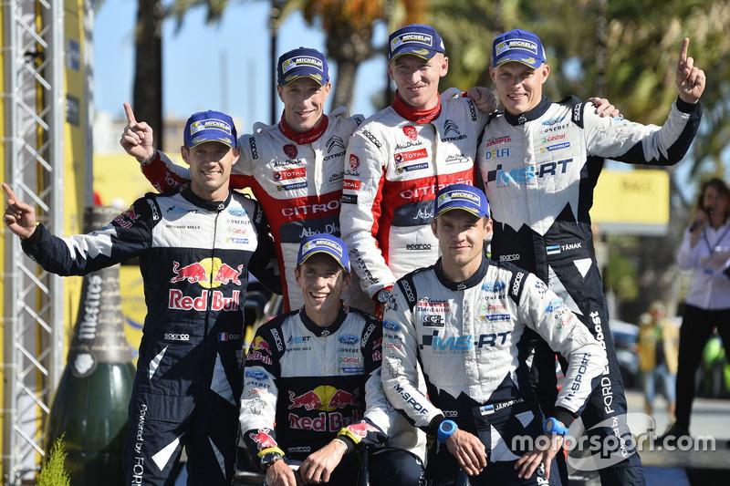 Podium: Ganadores, Kris Meeke, Paul Nagle, Citroën C3 WRC, Citroën World Rally Team, segundos, Sébastien Ogier, Julien Ingrassia, Ford Fiesta WRC, M-Sport, terceros, Ott Tänak, Martin Järveoja, Ford Fiesta WRC, M-Sport