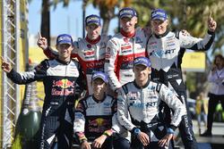 Podium : victoire pour Kris Meeke et Paul Nagle, Citroën C3 WRC, Citroën World Rally Team, deuxième place pour Sébastien Ogier et Julien Ingrassia, Ford Fiesta WRC, M-Sport, troisième place pour Ott Tänak et Martin Järveoja, Ford Fiesta WRC, M-Sport