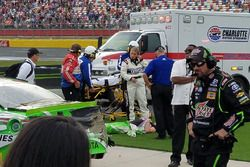 Injured Kyle Busch, Joe Gibbs Racing Toyota after the race