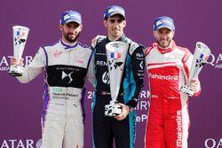 Podium : le vainqueur Sébastien Buemi, Renault e.Dams, le deuxième Jose Maria Lopez, DS Virgin Racing, le troisième Nick Heidfeld, Mahindra Racing