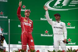 Podium: second place Sebastian Vettel, Ferrari, and Race winner Lewis Hamilton, Mercedes AMG, on the podium