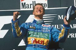 Podium: race winner Michael Schumacher, Benetton B194 Ford