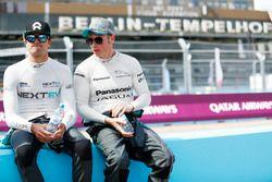 Nelson Piquet Jr., NEXTEV TCR Formula E Team, and Adam Carroll, Jaguar Racing