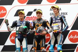 Podium: second place Pol Espargaro, Race winner Marc Marquez, third place Tito Rabat
