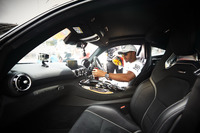 Lewis Hamilton, Mercedes AMG F1, in the cockpit of a Mercedes AMG F1 GT S