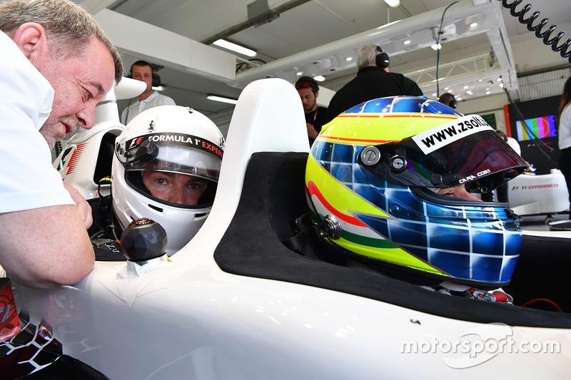 Paul Stoddart, Zsolt Baumgartner, F1 Experiences 2-Seater driver and F1 Experiences 2-Seater passenger Thomas Senecal, Journalist and Presenter for Canal +