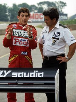 Первые тесты Сенны в Ф1 за рулем Williams FW08C: Айртон Сенна и Аллан Чаллис, тим-менеджер Williams
