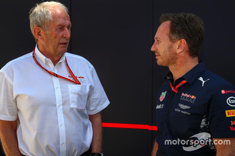 Dr Helmut Marko, Red Bull Motorsport Consultant and Christian Horner, Red Bull Racing Team Principal