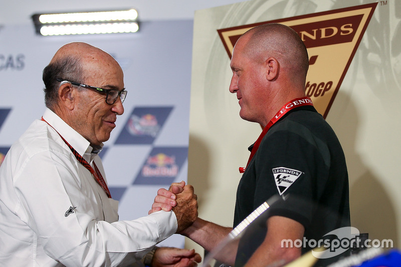 Carmelo Ezpeleta, CEO de Dorna Sports, Kenny Roberts Jr.
