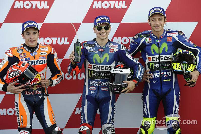 Polesitter: Jorge Lorenzo, Yamaha Factory Racing; 2. Marc Marquez, Repsol Honda Team; 3. Valentino R
