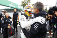Lewis Hamilton, Mercedes AMG F1, celebrates, his team after taking his 69th F1 Pole Position