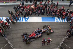 Max Verstappen, Scuderia Toro Rosso and team mate Carlos Sainz Jr., Scuderia Toro Rosso with the Scuderia Toro Rosso STR11