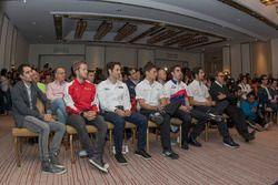 (L to R) Nicolas Prost, Rebellion Racing; Sam Bird, AF Corse; Bruno Senna, RGR Sport; Loic Duval, Audi Sport Team Joest; Sébastien Buemi, Toyota Racing; Lucas di Grassi, Audi Sport Team Joest and Adrian Fernández