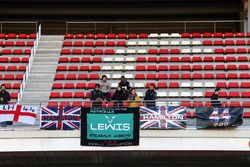 Lewis Hamilton, Mercedes AMG F1 fans with flags and banners