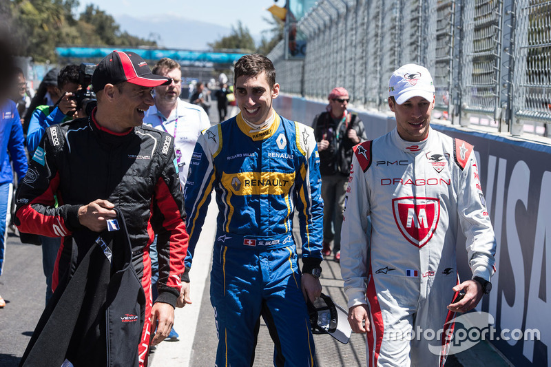 Sébastien Buemi, Renault e.Dams; Loic Duval, Dragon Racing und Stéphane Sarrazin, Venturi